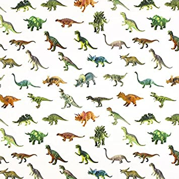 Unbekannt Halbpanama Dinosaurier – wollweiss — Meterware ab 0,5 m ...