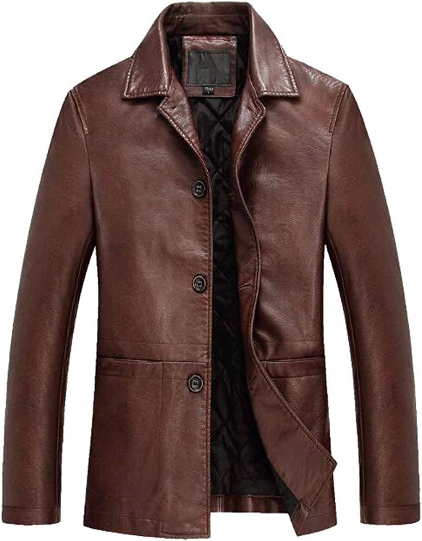 MK988 Mens Lapel Long Sleeve Pu Leather Moto Classic Thicken Jacket Coat Outwear