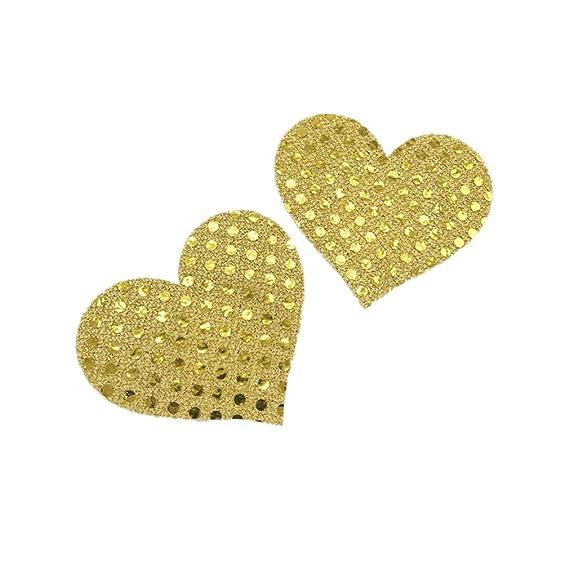 Kangqi Sexy Nipple Covers desechables lentejuelas Adhesive Bras sujetador en forma de corazón (Color :
