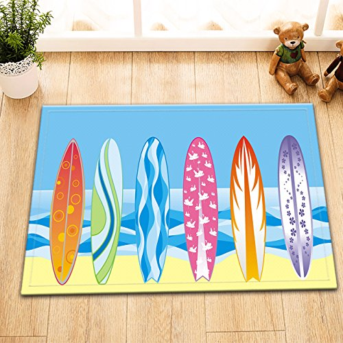 LB Surf Boards Sand Beach Rugs for Kids Bedroom Decoration, Non Slip Backing Soft Flannel, Seaside Water Sports Bathroom Decor 15 x 23 Inches ()