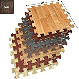 laundry room flooring  Wood Floor Mats Foam Interlocking Wood Mats Each Tile 1 Square Foot 3/8-Inch Thick Puzzle Wood Tiles with Borders – for Home Office Playroom Basement (16 Tiles 16 Sq ft, Wood Grain - Dark)