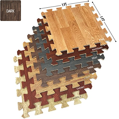 Wood Floor Mats Foam Interlocking Wood Mats Each Tile 1 Square Foot 3/8-Inch Thick Puzzle Wood Tiles with Borders – for Home Office Playroom Basement (16 Tiles 16 Sq ft, Wood Grain - Dark)
