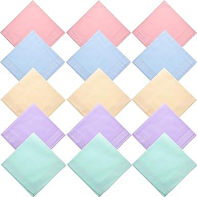 Pañuelos de Algodón Puro de 15 Piezas Pañuelos Cuadrados Lisos Con ...