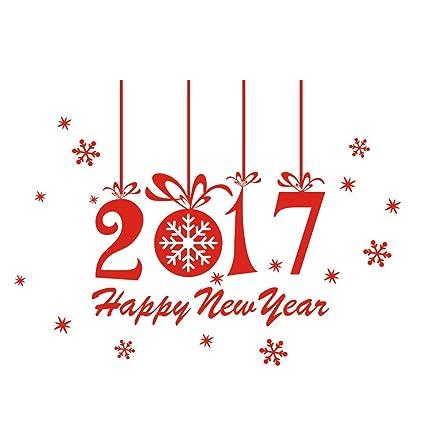 Blusas Feliz Año Nuevo 2017 Feliz Navidad Etiqueta de la pared de Windows Adhesivos (Rojo