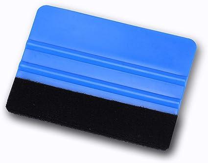 JUSTTOP Blue 6 Inch All-in-1 Automotive Felt Scraper for Vinyl Scraper Decal Tool Applicator with Black Fabric Felt Edge