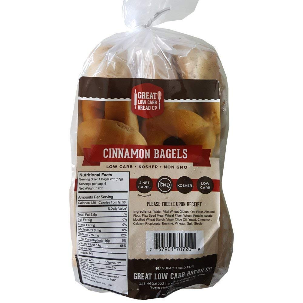 Cinnamon Bagels, Great Low Carb Bread Company, Low Carb Bagels, Keto-Friendly Bread, 6 Bagels per bag