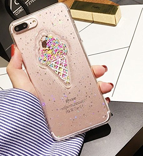 Blingy's iPhone 8 Plus/iPhone 7 Plus Case(5.5inch), Ice Cream Style with Sprinkles Soft Rubber Clear Case for iPhone 8 Plus/iPhone 7 Plus (Clear Ice Cream)