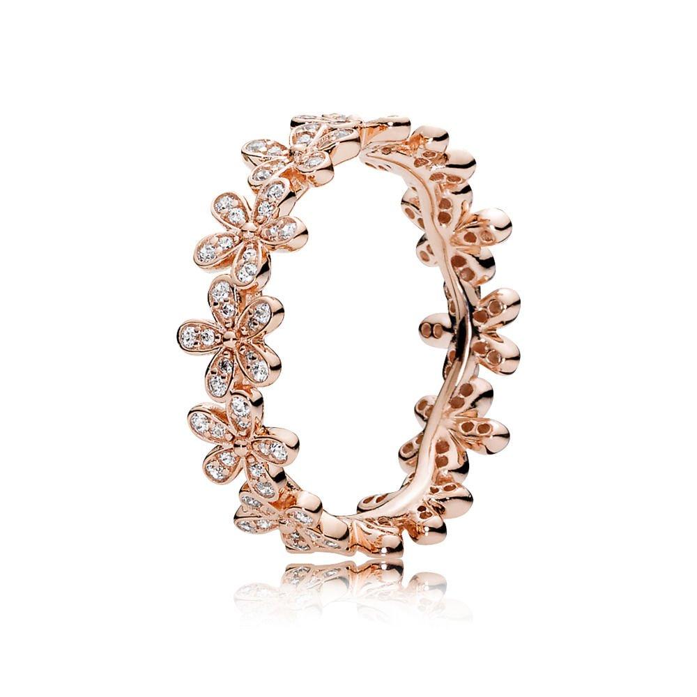 PANDORA Dazzling Daisy Ring, PANDORA Rose & Clear CZ 180934CZ-56 EU 7.5 US