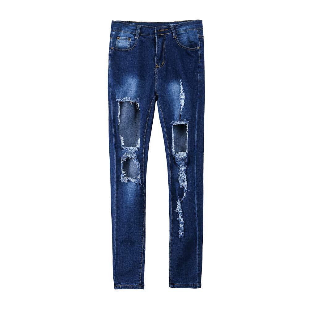 ALIKEEY Las Mujeres De Moda Jeans Denim Agujero Femenino De Cintura Alta Stretch Delgado Sexy Lápiz es: Amazon.es: Ropa y accesorios