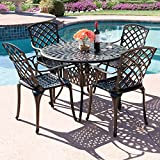 Best Choice Products 42'' 5-Piece Cast Aluminum Patio Outdoor Dining Set- Textured Brown