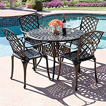 Elegant Best Choice Products 5 Piece Cast Aluminum Patio Dining Set W/ 4 Chairs,