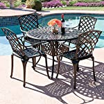 Best Choice Products 5-Piece Cast Aluminum Patio Dining Set w/4 Chairs, Umbrella Hole, Lattice Weave Design - Brown