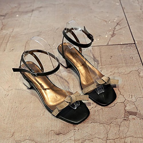 JIANGFU High Heel Sandaletten mit Knoten Dicken Fersenschuhen, Sommer Sandalen Offene Spitze Frauen Starke Ferse Schuhe Gladiator Schuhe Hochzeit Schuhe Gray