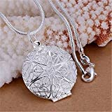 Womens Fashion Silver Charms Hollow Flower Photo Frame Pendant Chain Necklace EW