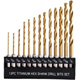 COMOWARE Titanium Twist Drill Bit Set - 13 Pcs...