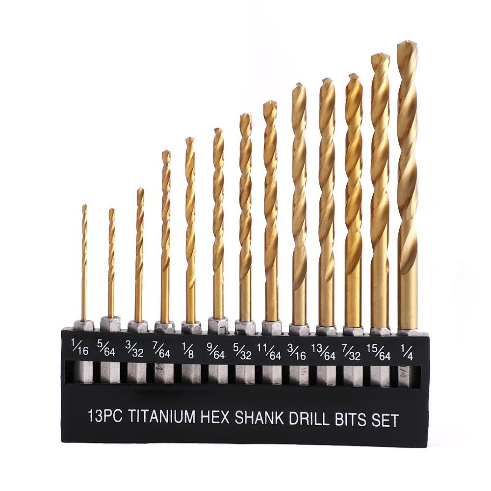 "COMOWARE Titanium Twist Drill Bit Set - 13 Pcs Hex Shank High Speed Steel for Wood Plastic Aluminum Alloy, 1/16""-1/4"""
