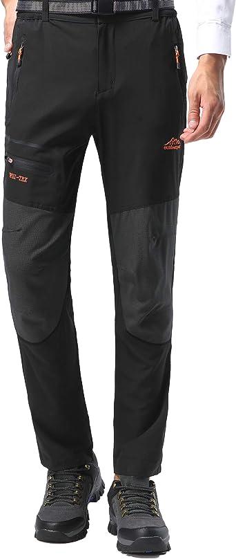 BenBoy Pantalon Montaña Hombre Secado Rápido Impermeable Pantalones Trekking Escalada Senderismo Acampada Transpirables y Ligeros KZ1727M-Black-S
