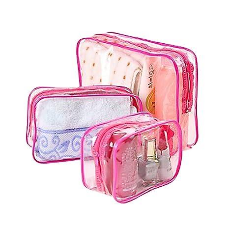 CAOLATOR 3PCS Multifuncional Portátil Mochila Impermeable/PVC Bolsillo Organizadores de Maletas/Bolso de Transparente/Maquillaje Organizador/Viaje ...