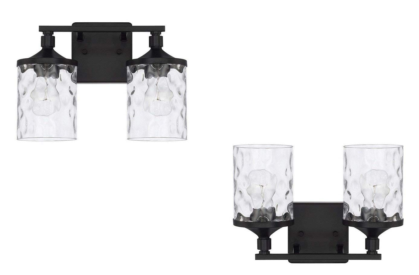 Capital Lighting Homeplace Colton – Two Light Bath Vanity, Matte Black Finish with Clear Water Glass – 2 Pack