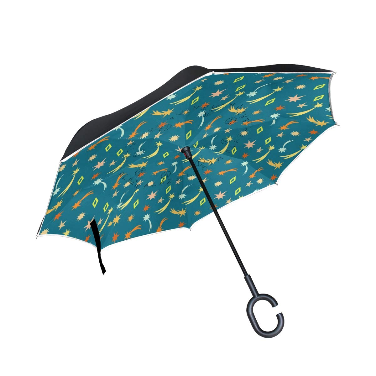 senya Double Layer Inverted Umbrellas Cute Meteor Stars Pattern Folding Umbrella Windproof UV Protection for Car Use Rain Outdoor With C-Shaped Handle by senya (Image #1)
