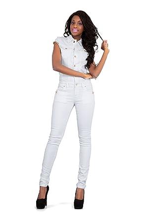 LustyChic Womens White Denim Jumpsuit Full Length Skinny Fit Style ... 98666693b