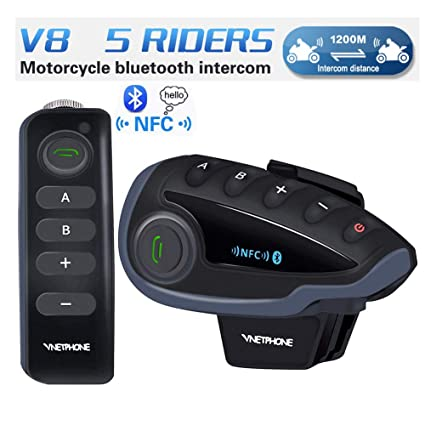 39ca203e31f VNETPHONE V8 Motorcycle Helmet Bluetooth Headset,Intercom Communication  Speaker - Handlebar Remote FM Radio NFC