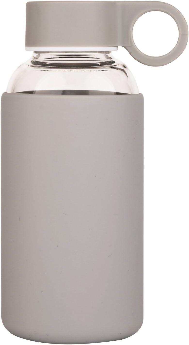 Justfwater Deporte Botella de Agua de Cristal con Funda de Silicona 350ml