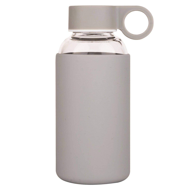 Justfwater Borosilikat Trinkflasche aus Glas mit Silikonhülle 350ml ...