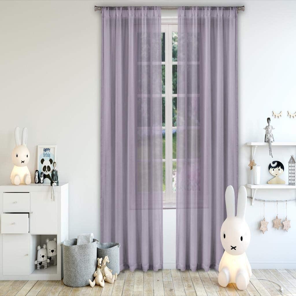 Kensie Alison Sheer Pole Top Window Curtain Pair Drapes for Bedroom, Livingroom, Kids Room, Children, Nursery-Assorted Colors-Set of 2 Panels, 52 x 84 Inch, Lavender