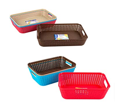 Amazon.com: Colorful Storage Trays Woven Baskets With Handle For Kitchen Or  Office (Coral): Office Products