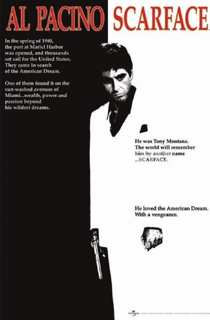 Scarface Movie (Al Pacino, Black and White) Poster Print - 24x36 Collections Poster Print, 24x36 Poster Print, 24x36