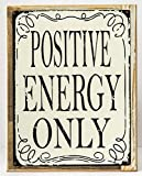 Framed Positive Energy Only Metal Sign, Lifestyle Poster, Modern Office, Den Decor For Sale