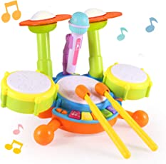 MiToo Kids Drum Set, Electric Toy Drum Set for Kids,Adjustable Sing-Along Microphone with Flash Light,Various Functions and Activity, Best Choice for Kids Gift