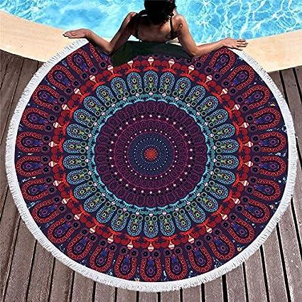 Amazon.com: WLEZY Beach Towel Yoga Tassel Mandala Tapestry ...