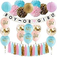 Gender Reveal Decoration Set Baby Shower Pink Blue Gold Confetti Balloons Pink Blue Gold Pom Poms Boy or Girl Banner Pink Blue Gold Paper Lanterns Tassel Garland Gender Reveal Decorations