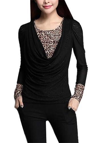 Kerlana Camisa Mujer Sexy Costura Leopardo Camisetas De Manga Larga Blusa De Elegante Casual T Shirt...