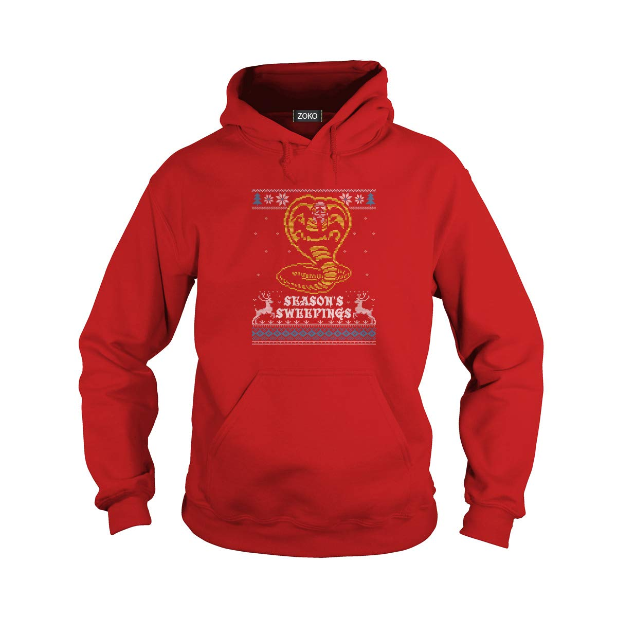 Unisex Seasons's Sweepings Christmas Adult Hooded Sweatshirt (3XL, Red) by Zoko Apparel