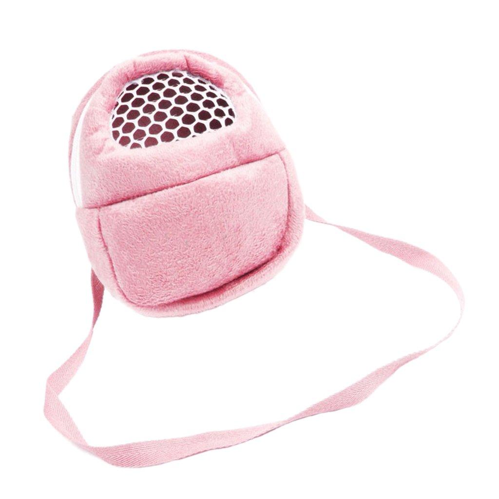 MonkeyJack Cotton Pet Hamster Hedgehog Chinchilla Hanging Backpack Sleep Bed Hanging Bag with Strap - Pink, L