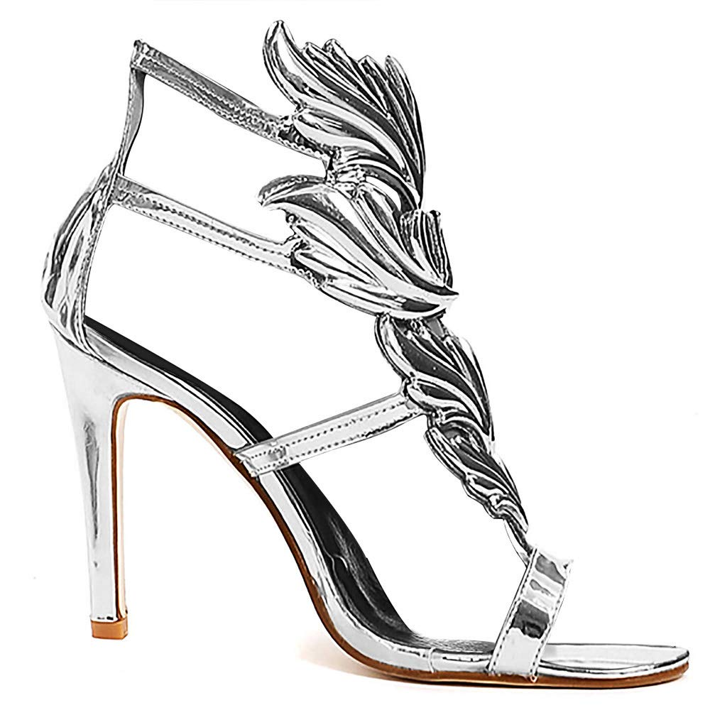 Women's Silver Flame Design High Heel Gladiator Sandal Shoes - DeluxeAdultCostumes.com