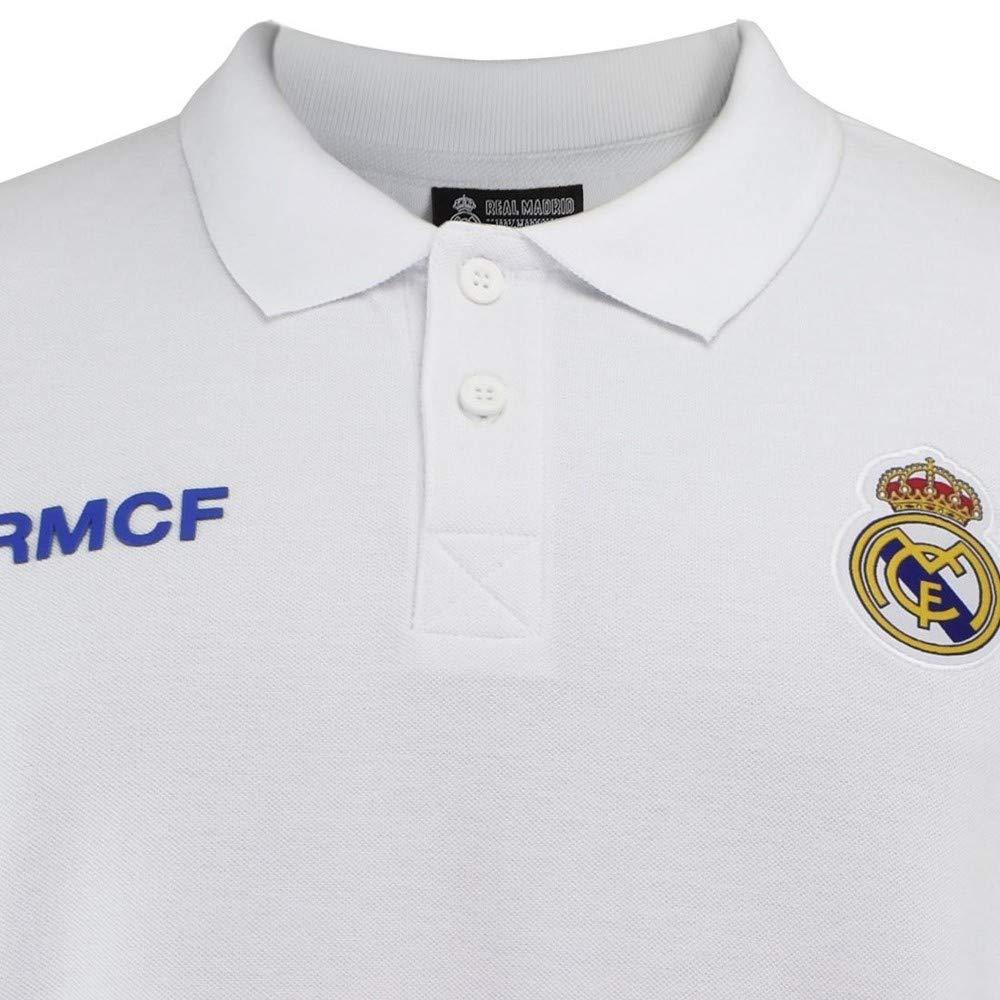 Polo Real Madrid Junior Blanco Escudo Bordado: Amazon.es: Deportes ...