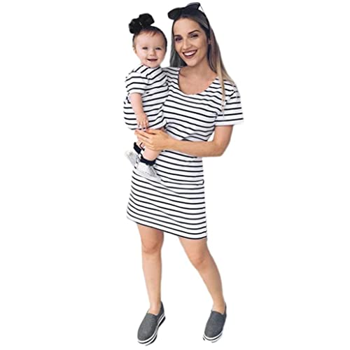 Keepwin Family Matching Clothes Mother Daughter Casual Striped Short Sleeve Summer Tunic T-Shirt Dress