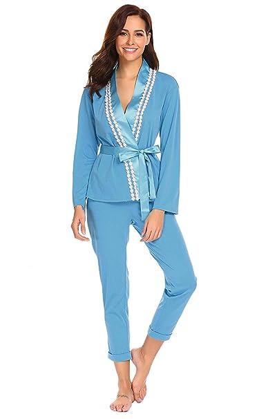 Mujer Ropa para El Hogar Primavera Otoño Satín Elegante Conjunto De Pijama Manga Larga V-