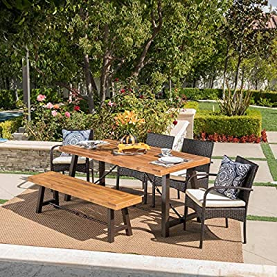 Great Deal Furniture Belham Outdoor 6 Piece Teak Finished Acacia Wood Dining Set with Multibrown Wicker Dining Chairs and Crème Water Resistant Cushions