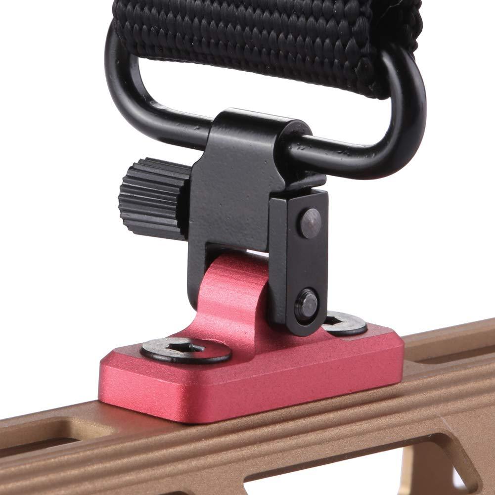 TuFok Mlok Sling Mount Stud - Gun Sling Swivel for M-lok System,Rifle Sling Mount fit Uncle Mikes Style Sling Swivel Stud, Low Profile Design,Aluminum Black (RED) by TuFok