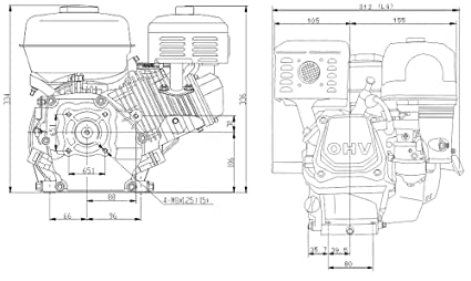 WilTec LIFAN 168 Motor de Gasolina 4,8kW (6,5PS) Motor de 19,05mm para Karts