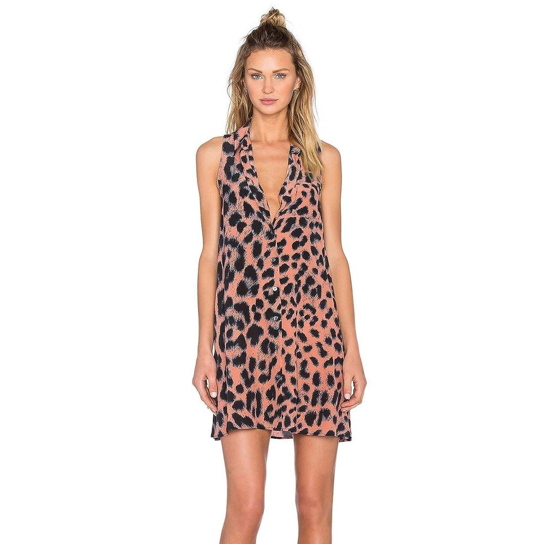 Maxquoia Damen Leopard Cocktail Kleid V-Ausschnitt Sommerkleid Strandkleid ärmellose Blusenkleid