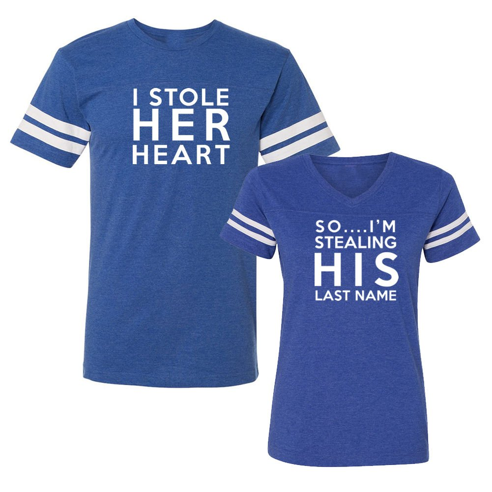 We Match! Stole Her Heart Stealing His Last Name Matching Couples Football T-Shirt Set (Ladies 2XL, Mens XL, Royal)