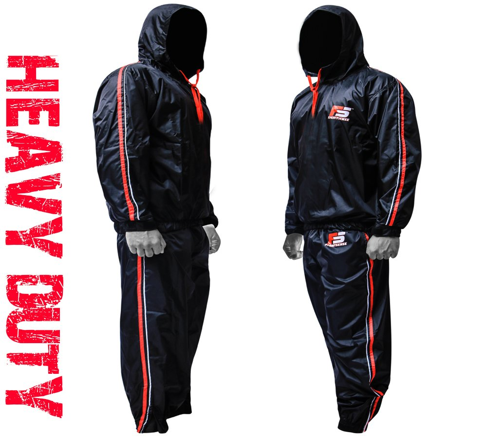 FIGHTSENSE FS MMA Sauna Sweat Suit Track Weight Loss Slimming Fitness Gym Exercise Training Added Hood Color Red Anti-Rip (4XL)