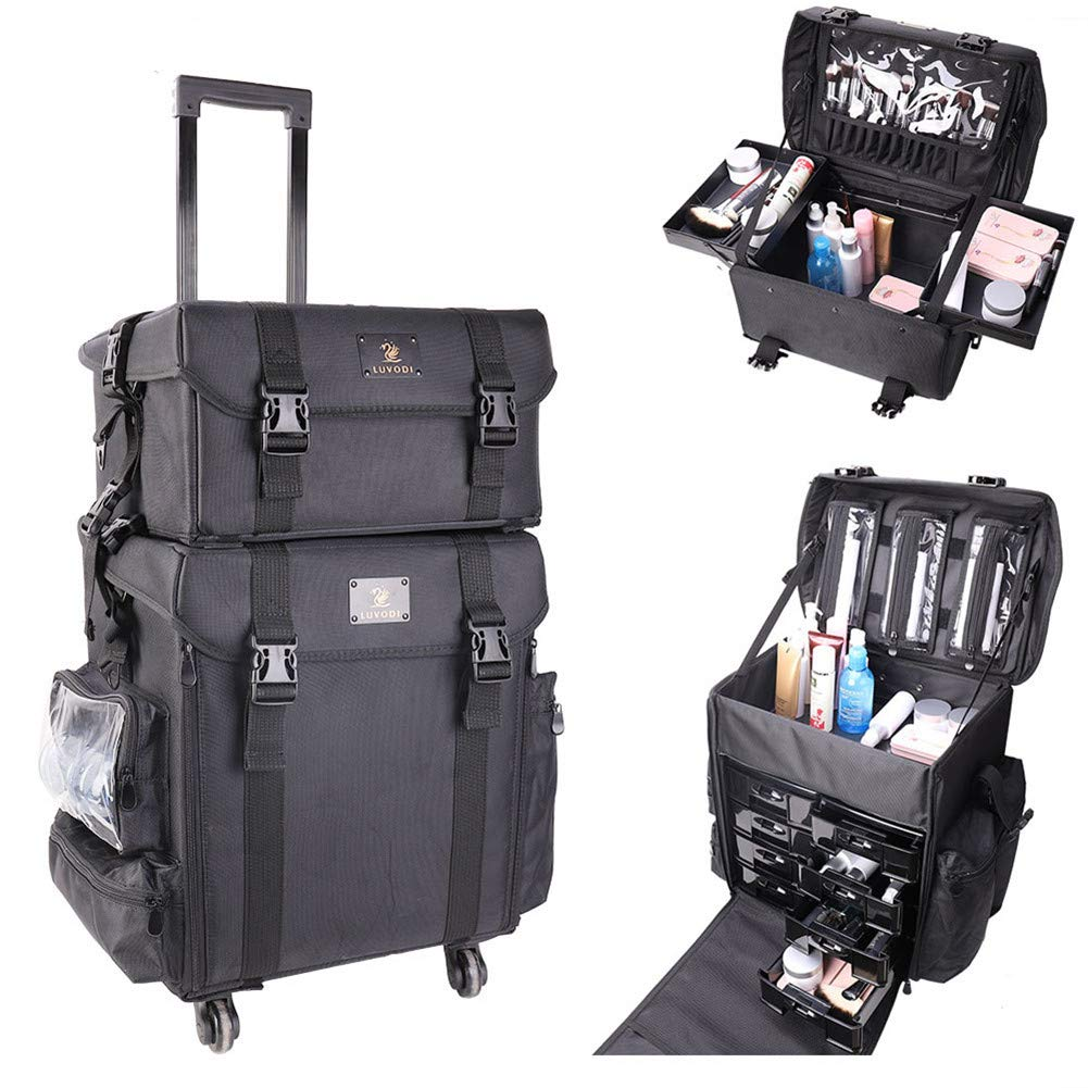 Rolling Makeup Case 2 In 1 Trolley Makeup Artist Travel Case Cosmetic Storage on Wheels, Soft Sided Black Nylon Large Train Makeup Luggage