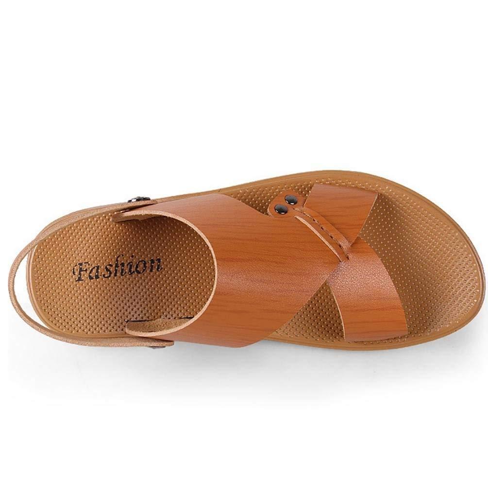 FuweiEncore Männer faul treibende Arten Flache Sohle Sandale (Zwei Arten treibende von Tees) (Farbe   Gelb braun, Größe   38) f5334b